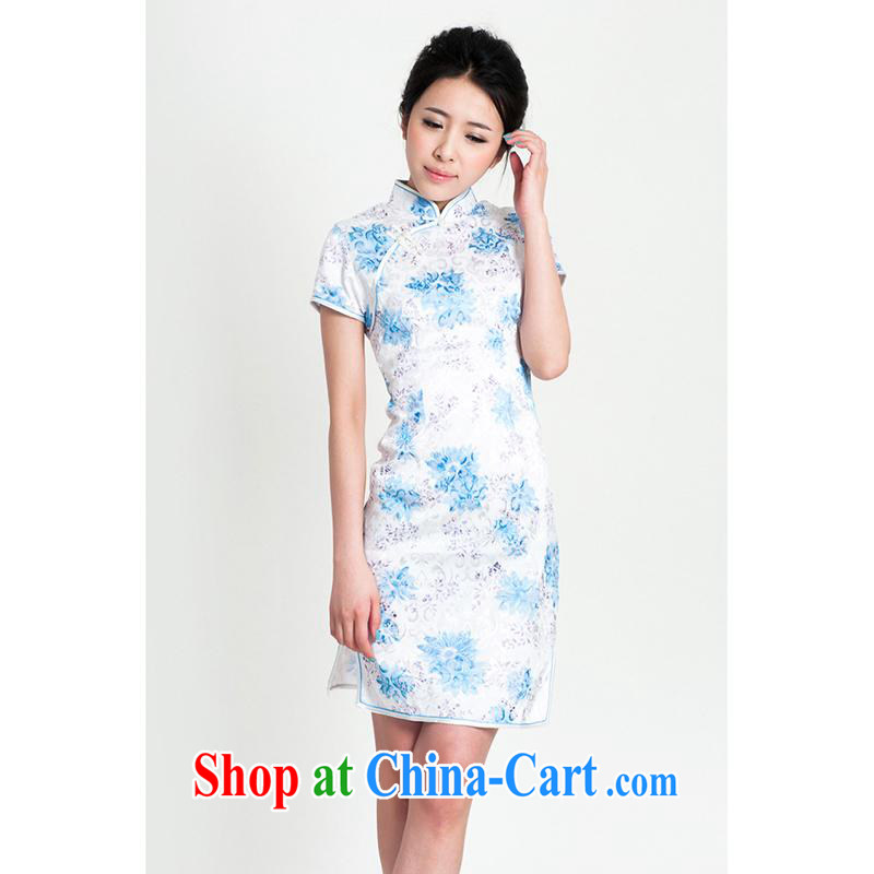 100 brigade Bailv summer new jacquard cotton stamp Chinese cheongsam dress short-sleeve dresses female B F 1 1028 _ sauna-jae of C - 02 - 2 blue