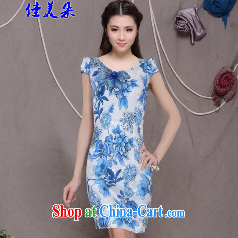 Good 2015 flower embroidery cheongsam high-end Ethnic Wind stylish Chinese qipao dress retro beauty graphics thin outfit _6076 blue XL
