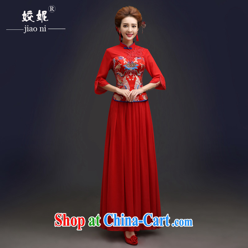 Connie focus 2015 new autumn and winter clothes wedding dress red traditional cuff in marriage bridal dresses serving toast QP 104 red XXL