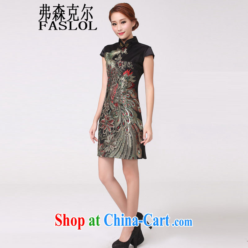 2015 new Peacock hot Peacock embroidery cheongsam festive wedding dresses mother improved 6608 black XL