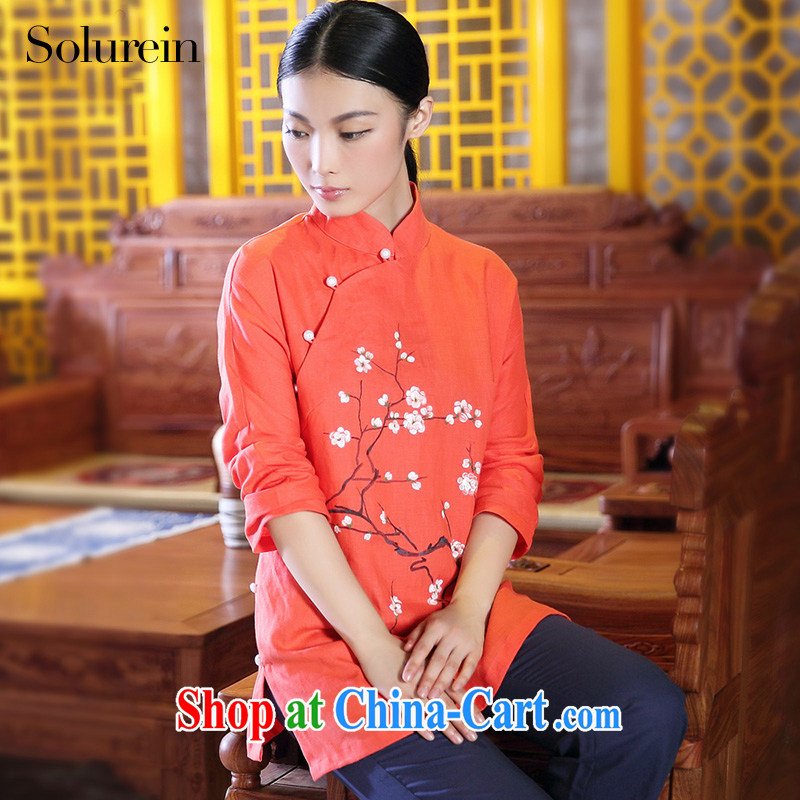 solurein Chinese, summer cotton the female Chinese Antique Tea Service T-shirt Chinese wind improved Han-red XXL