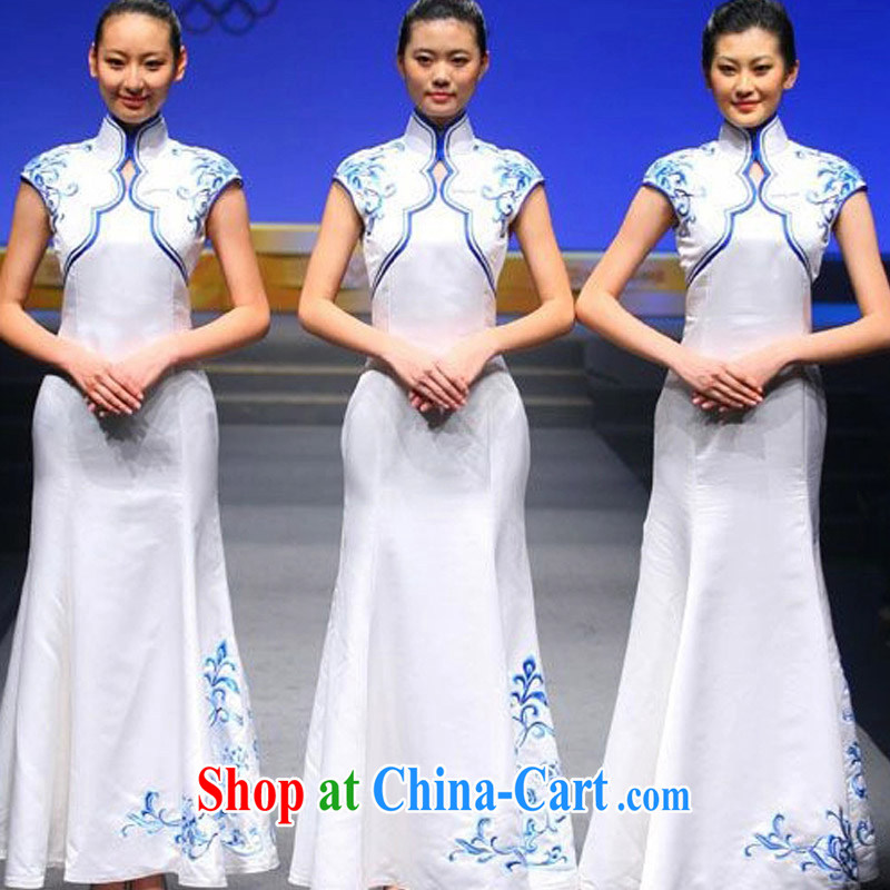 married love etiquette blue and white porcelain cheongsam awards ceremonial dress uniform performance stage costumes white XL