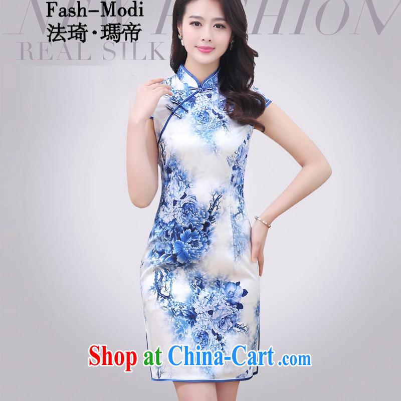 The ki Princess Royal Silk Cheongsam dress 2015 summer new upscale heavy sauna silk retro double long high on the truck even dresses clothing skirt blue and white porcelain XXL
