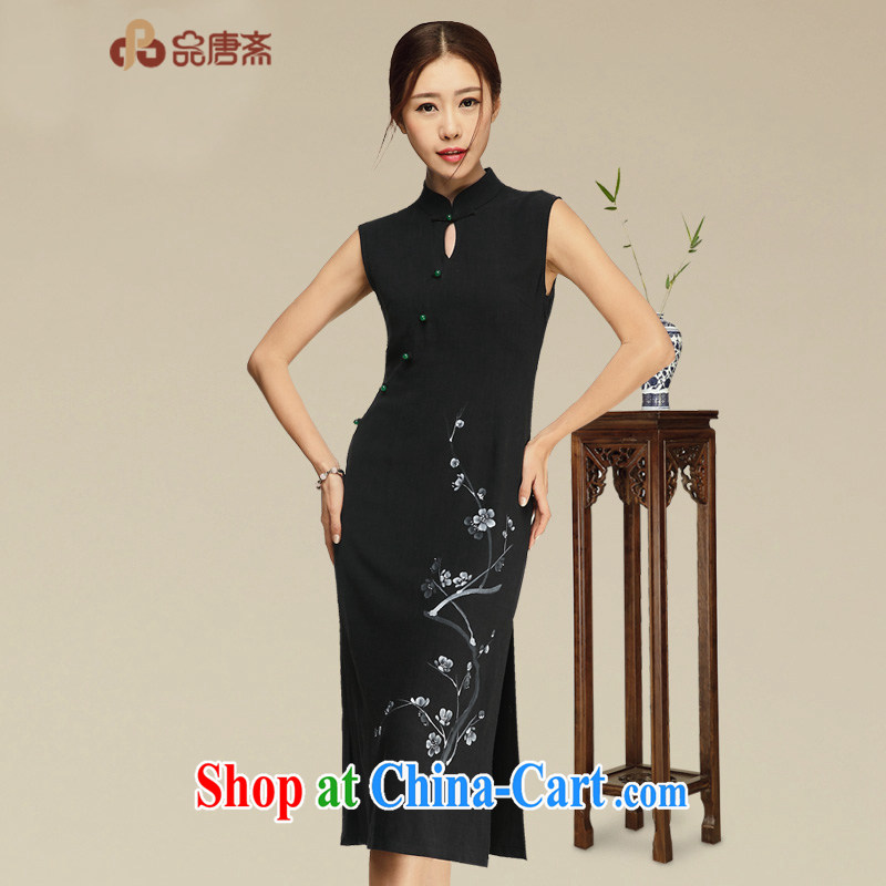Mr Henry Tang, Id al-Fitr original design high-end retro daily the waist cheongsam dress 2015 summer new improved stylish cotton the cheongsam dress black XL