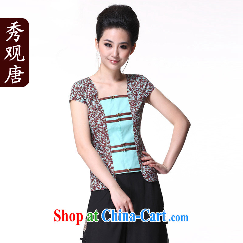 Cyd Ho Sau-Kwun Tong and Mr Ronald ARCULLI Ethnic Wind female/Chinese, summer T-shirt/Chinese improved short-sleeved picture color XXL