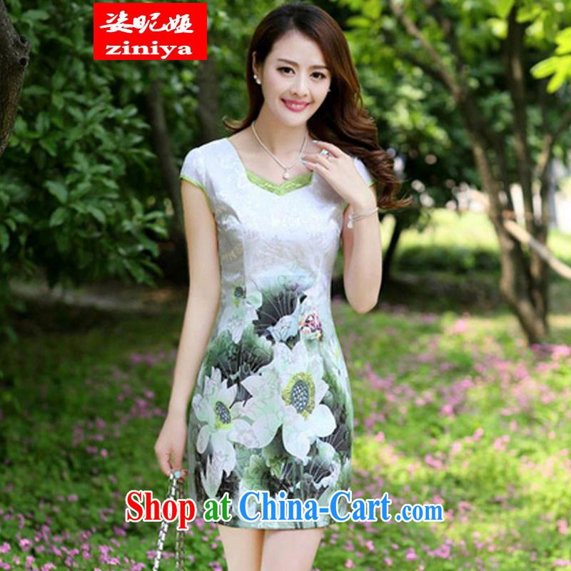 Colorful nickname Julia 2015 summer new Korean fashion beauty graphics thin ethnic wind dresses female short-sleeve stamp cheongsam dress package and skirt emerald XXXL
