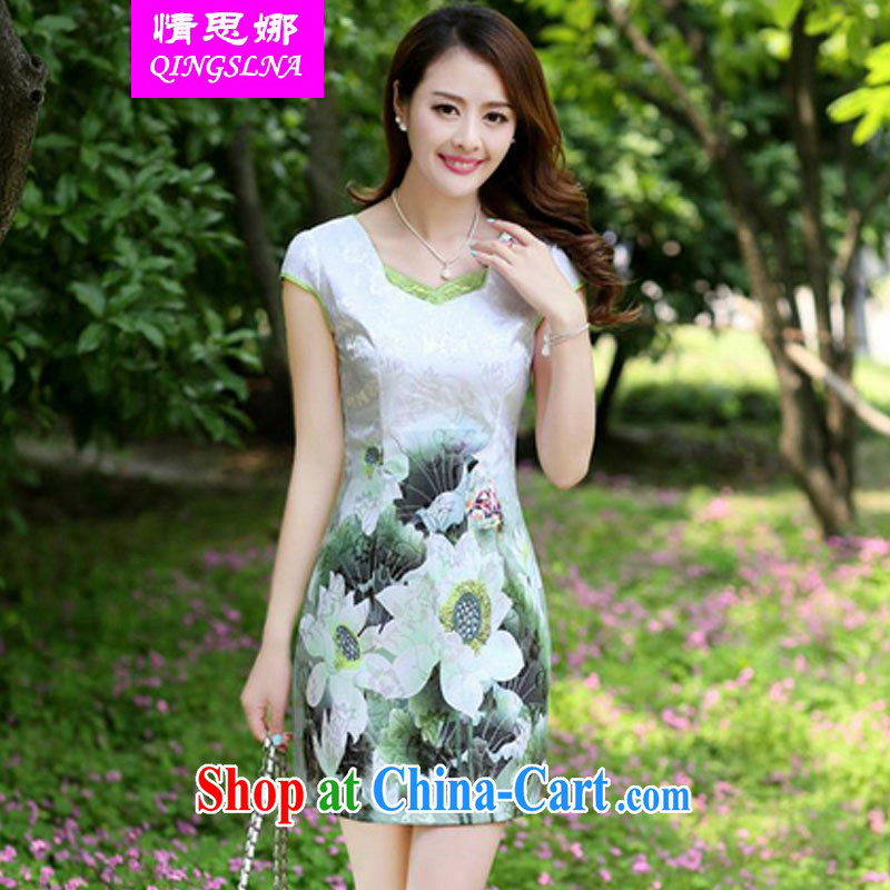 And Cisco's 2015 summer new Korean fashion beauty graphics thin ethnic wind dresses female short-sleeve stamp cheongsam dress package and skirt green 3 XL