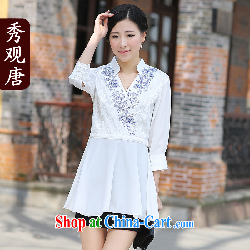 Cyd Ho Kwun Tong blue porcelain the Chinese improved Chinese T-shirt/Summer, Ms. Tang/long-sleeved T-shirt G 99,135 white XXL