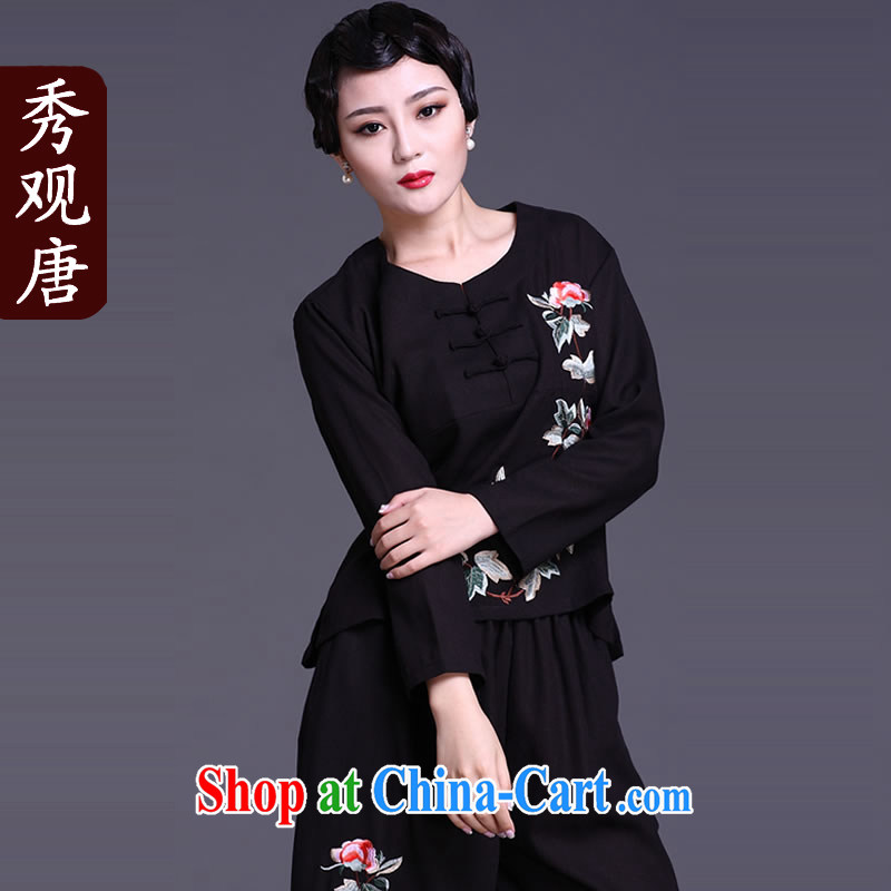 The CYD HO Kwun Tong' tricks Peony spring loaded long-sleeved Tang replace Ms. T-shirt_2015 National wind female Two-piece black XL