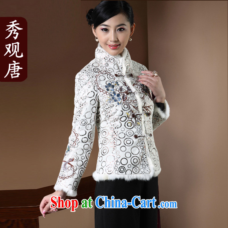 Cyd Ho Kwun Tong winter temptation of Tang with quilted coat long-sleeved girls retro winter clothing T-shirt MOM jacket 2015 new white XXL