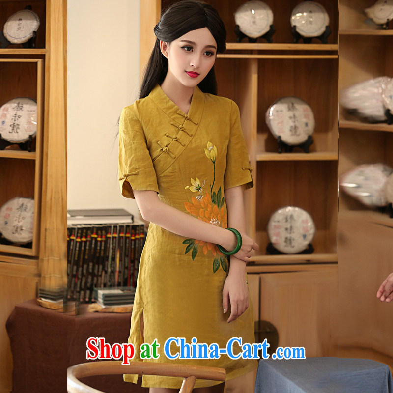 The cross-sectoral rhythm Elizabeth 2015 new, Han-female daily improved cheongsam dress hand painted dresses summer H Z tea-color 2 XL