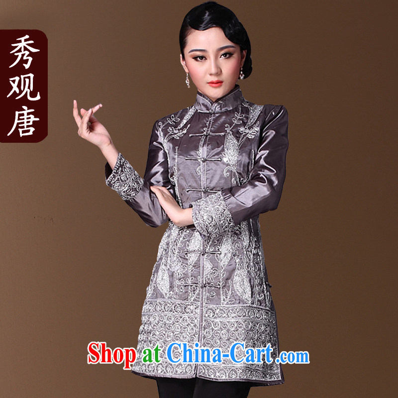 Cyd Ho Kwun Tong dry lady Chinese Tang fitted T-shirt winter clothes 2015 improved stylish embroidery jacket 9625 - JGCF silver 4XL