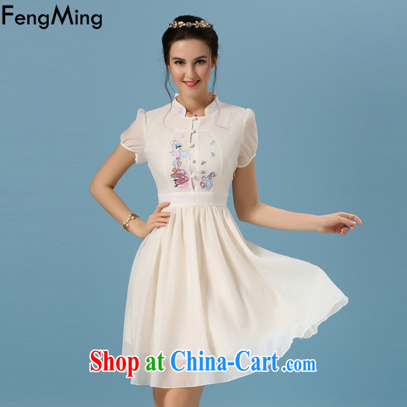 Abundant Ming summer 2015 new dresses retro Korea arts embroidery cheongsam girl picture color XL