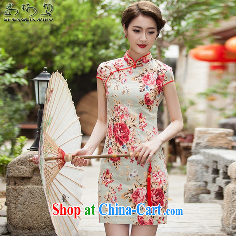 Summer New China wind-snap stamp arts and cultural Ethnic Wind improved antique cheongsam dress female sung lim bird 2015 the packet-switched S