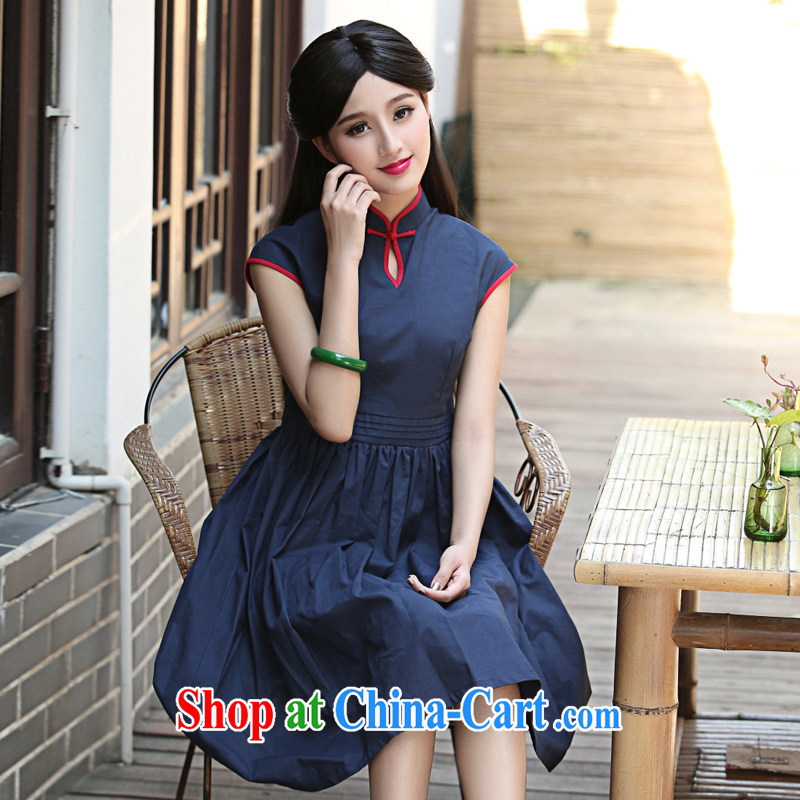 The cross-sectoral Noye Windsor improved cheongsam dress summer dresses day dresses retro dresses skirts arts cotton Ma H Z deep blue 2 XL