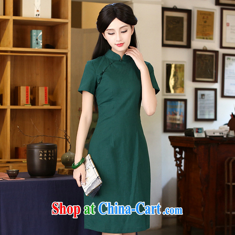 The cross-sectoral do not have her mind retro arts and cultural units the cheongsam dress daily improved cheongsam summer in long robes army green 2XL