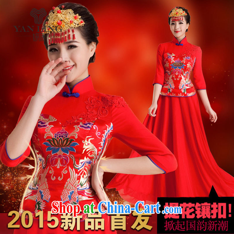 Her spirit 2015 wedding dresses new dress wedding retro improved nowhere in his long sleeved shirt bridal long summer QP 84 red M