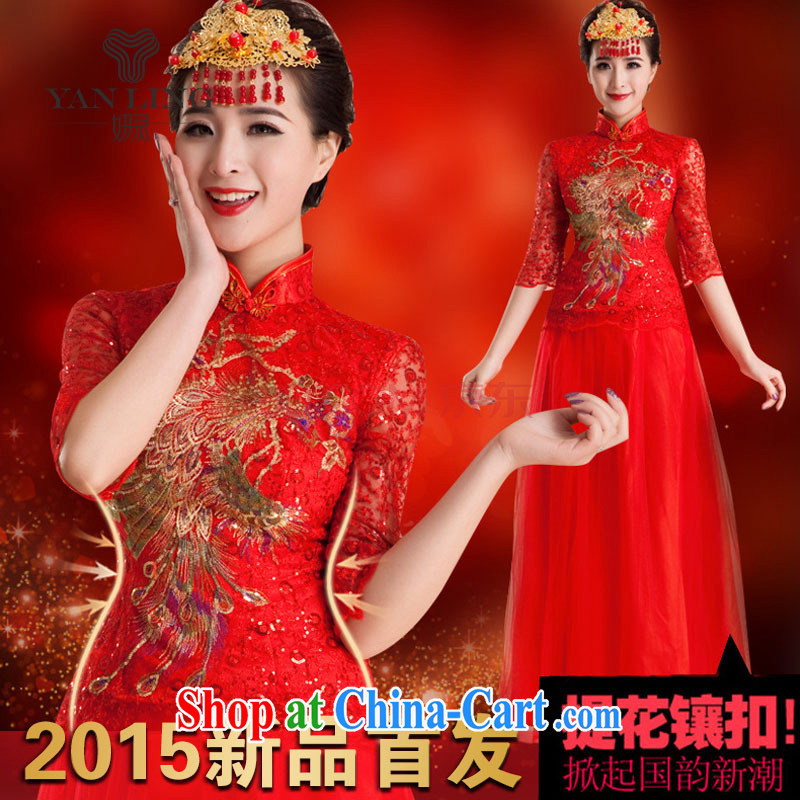 Her spirit 2015 wedding dresses cheongsam dress uniform toast wedding antique wedding dresses bridal wedding improved stylish long QP 83 red L