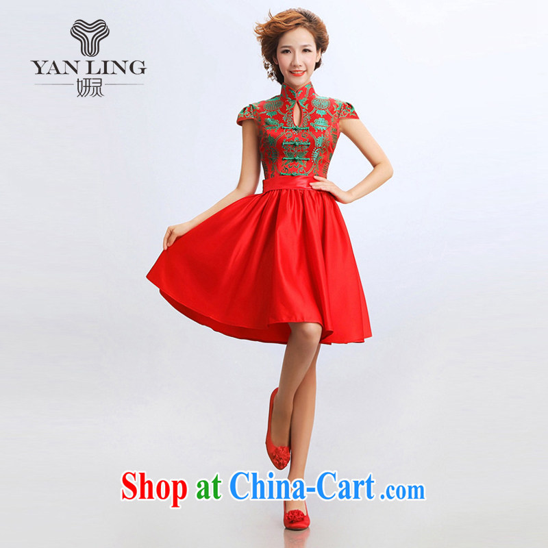 Her spirit 2015 new stylish cheongsam dress improved short bridal bridesmaid wedding wedding dresses dresses red L
