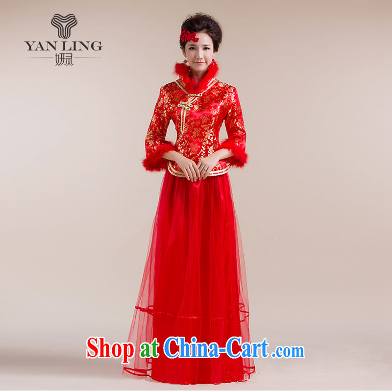2015 New Section for Gross Gross cuff gauze long skirt with gold floral decorations Chinese wedding dress red L