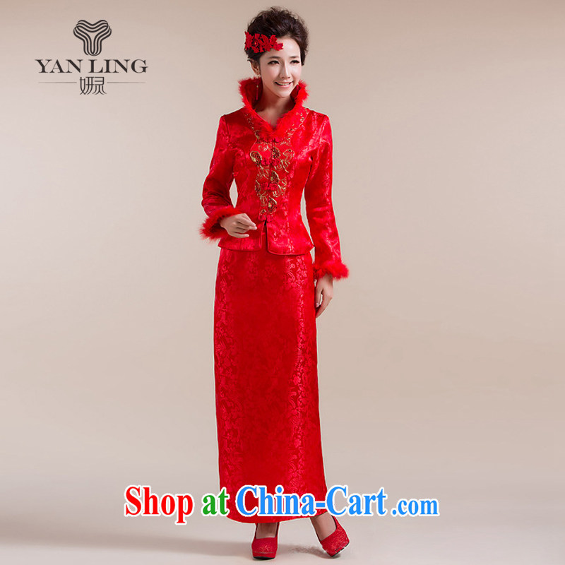 Her spirit 2015 new high-collar scarf traditional coin has eschewed the long skirt Chinese wedding dress red L