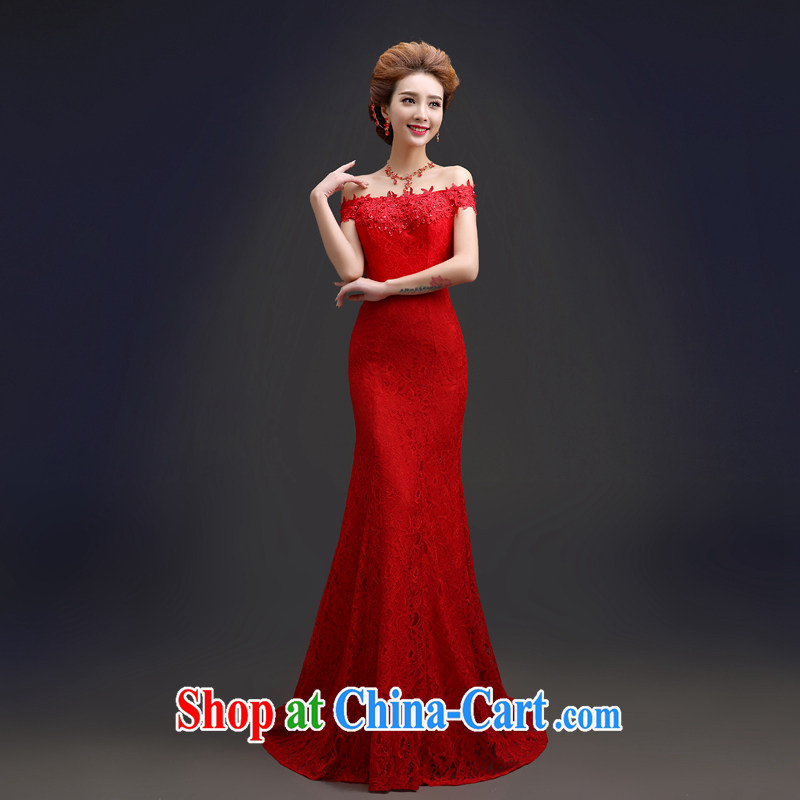Connie crackdown new brides field shoulder dress red wedding dresses lace crowsfoot dress evening dress wedding dresses QP 106 small red tail XXL