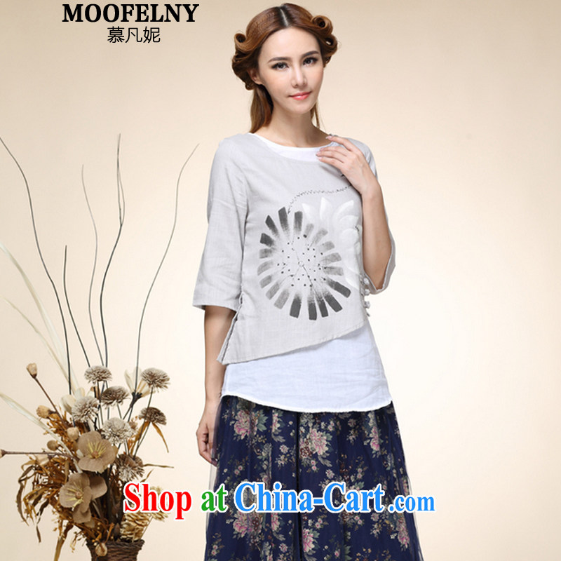 The Stephanie 2015 new female hand-painted tray snap leave two retro Tang with improved Han-T-shirt gray XL