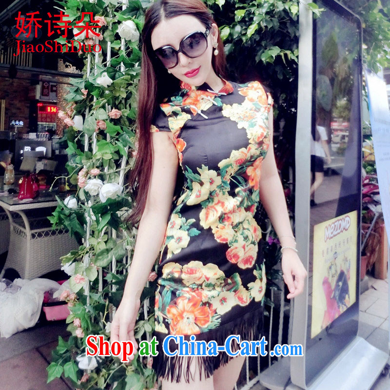 Summer 2015 new retro style stamp-su stitching, with the waist graphics thin cheongsam dress black S