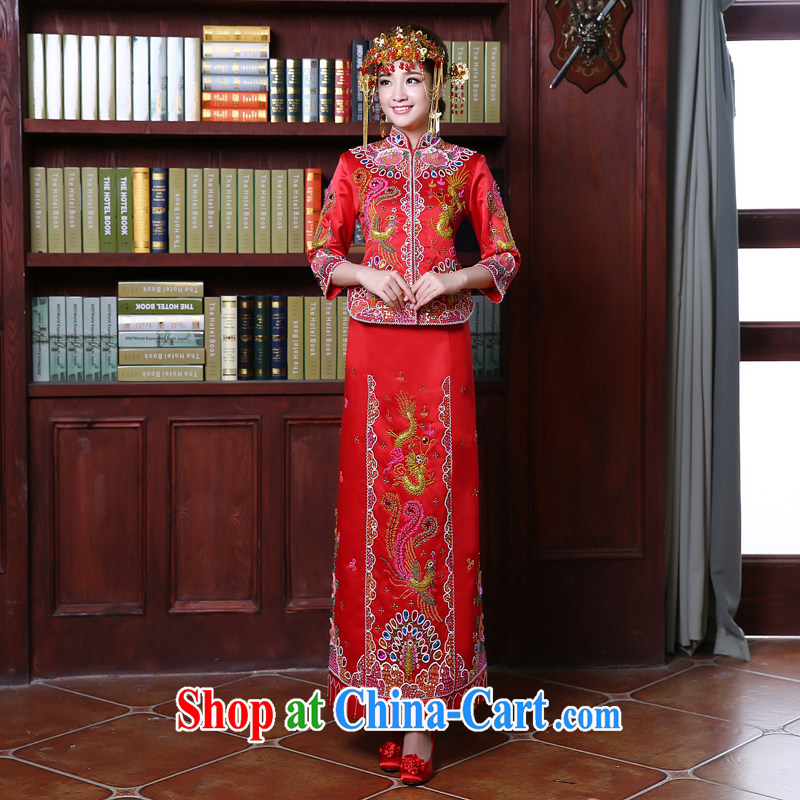 Kou Connie bridal dresses use phoenix high-su Wo service Su-kimono Chinese Chinese style wedding toast wedding clothes dresses retro married Yi Girls 107 red XXL