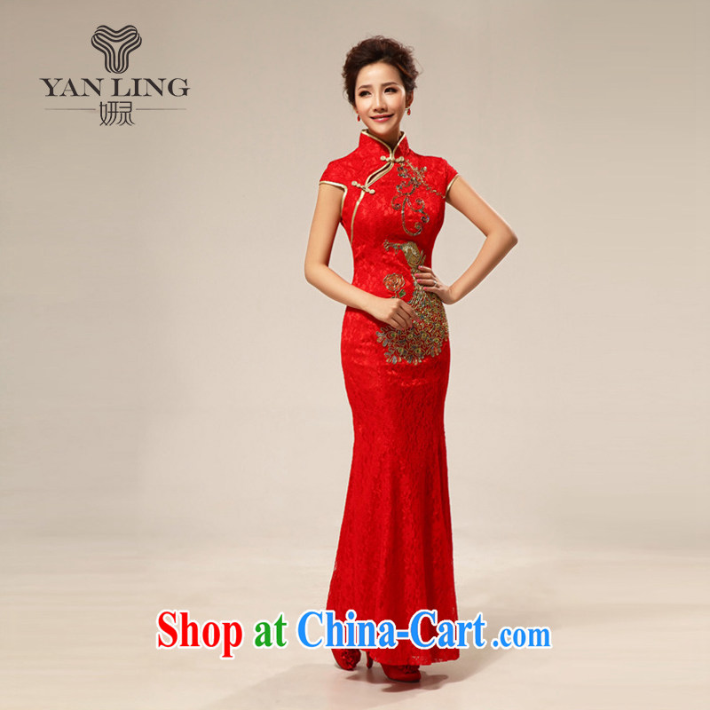Her spirit 2015 red retro lace-chinese improved marriages bows cheongsam dress wedding bridal dresses with 66 red L
