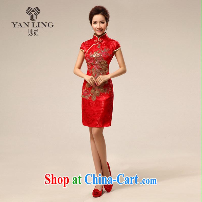 Her spirit retro short cheongsam dress summer dresses improved retro wedding toast serving Phoenix cheongsam 73 red L