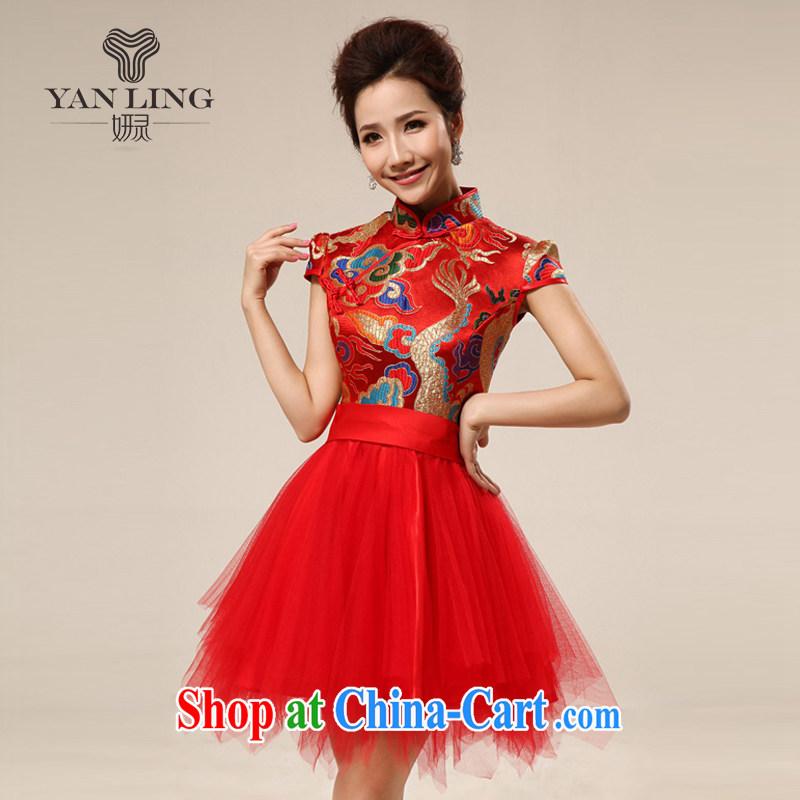 Her spirit package shoulder short-sleeved wedding toast wedding dress small dress short dragon robe bridal dresses with 70 red L