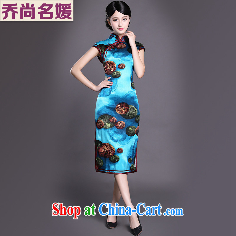 Joe is still name-yuan silk dresses, long feast, take high-end style dress ZS 012 blue XXL