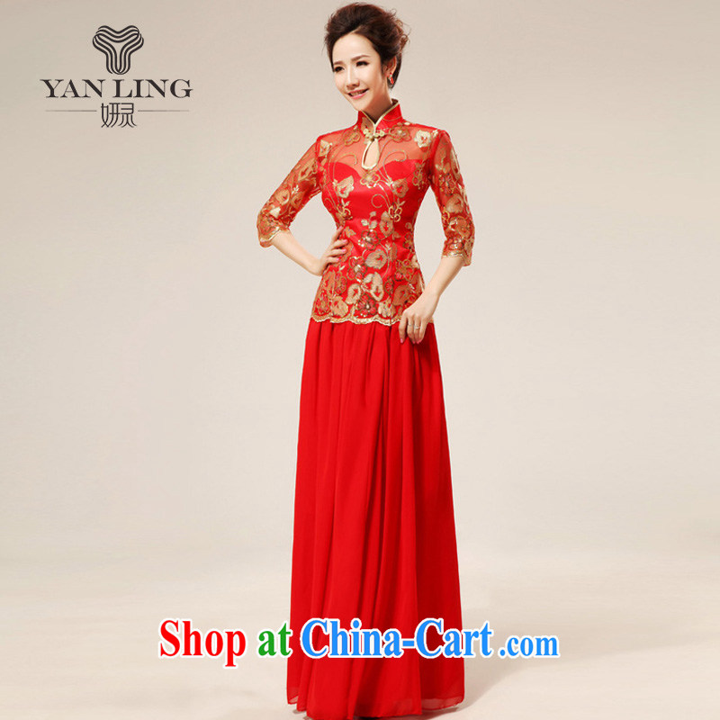 Her spirit new red retro sexy lace bridal wedding dresses stylish upgraded cuff toast qipao cheongsam 75 L