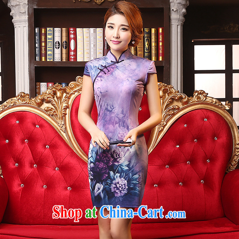 Mrs Alexa Lam growl 2015 new improved cheongsam short retro summer emulation, Purple Peony cheongsam dress beauty 09,551 purple XL