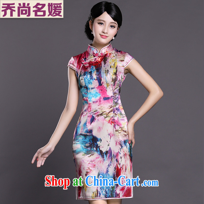 Joe is still name-yuan Chinese wind cheongsam dress silk summer Korea female ZS 020 red XXL