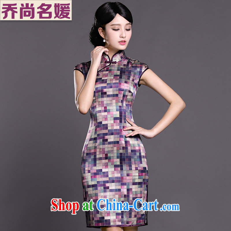Joe is still name-yuan silk improved cheongsam dress summer aura China wind ZS 021 purple XXL