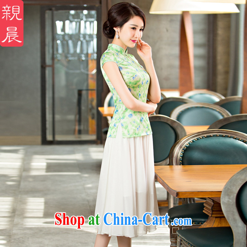 pro-am 2015 new, improved day-style short-sleeved summer cheongsam dress girls dresses dresses dresses shirt FMS - 236 + M snow white linen skirt 2XL