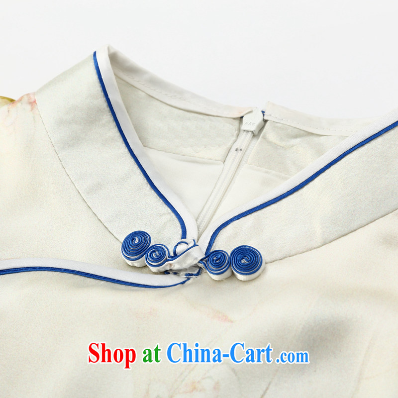 Joe is still a ritual summer new short-sleeved improved cheongsam dress silk Ethnic Wind ZS 024 white XXL, CHOSHAN LADIES, shopping on the Internet
