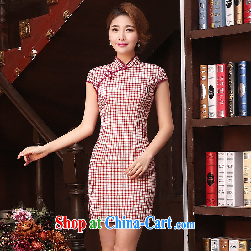 Mrs Alexa Lam unpunished cheongsam dress spring 2015 new retro improved stylish art grid girls everyday dresses dresses summer short 08,351 pink S