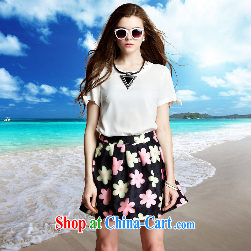 Ya-ting store European site 2015 Summer Snow girls woven shirts Solid Color short sleeve shirt T petal collar loose video thin with skirt T-shirt white L