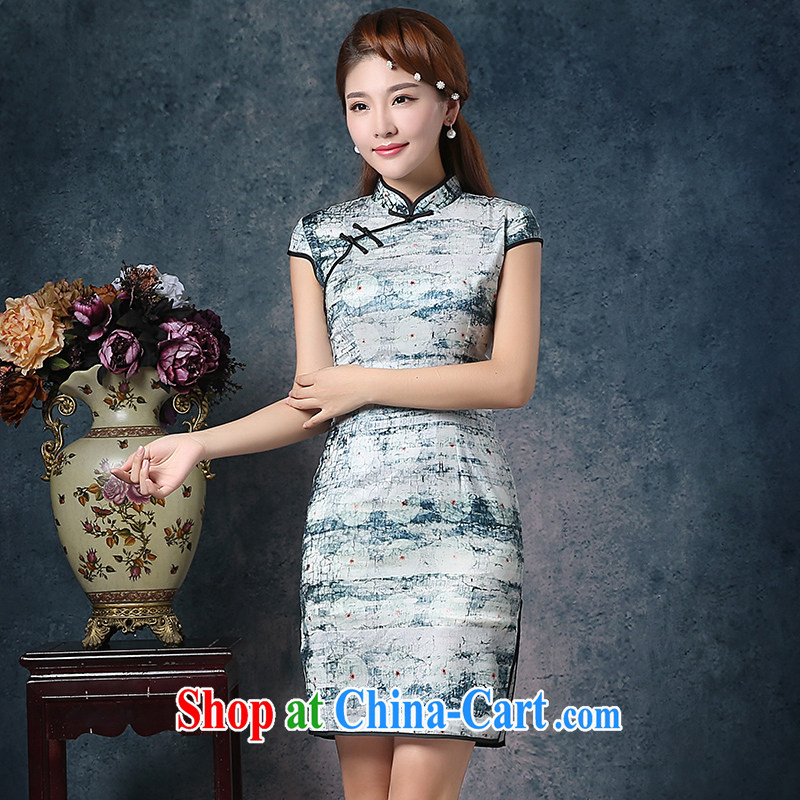 Mrs Alexa Lam growl 2015 summer new Korean silk retro Beauty Fashion short daily outfit 07,251 green L