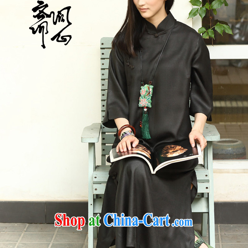 q heart Id al-Fitr (Yue heart health female new summer, Chinese Antique, for thin-wrinkle relaxing qipao dress 2027 black L