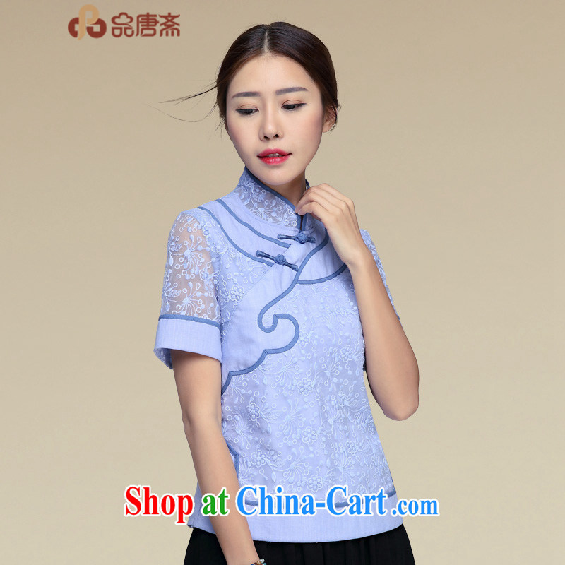 Mr Henry Tang, Id al-Fitr Tang Women's clothes retro T-shirt summer 2015 New China wind Han-improved cheongsam shirt short-sleeved blue XL