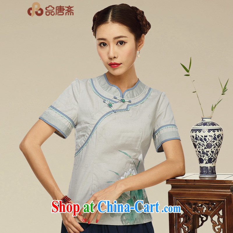 For Ramadan Tang Tang Women's clothes summer Ethnic Wind short-sleeved T-shirt outfit improved Han-Chinese wind daily Chinese cotton the tea service picture color XL