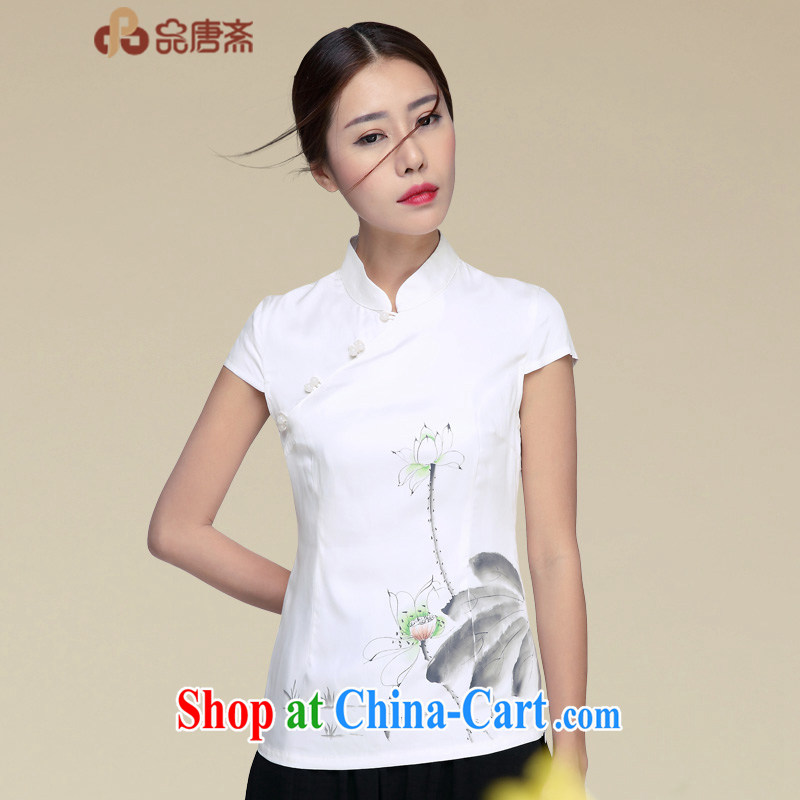 Mr Henry Tang, Id al-Fitr cheongsam T-shirt 2015 summer silk tea service, served girl summer improved national wind women Tang Women's clothes the color XL