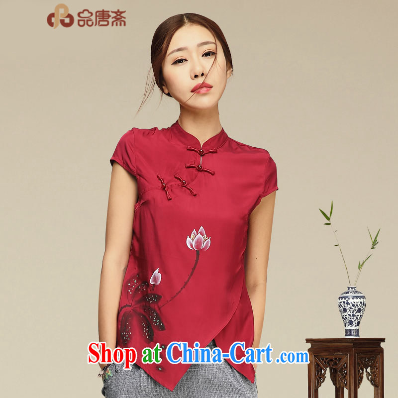 Mr Henry Tang, Ramadan 2015 new chinese daily, Ms. Han-summer retreat China wind sauna silk dress retro short-sleeved Silk Cheongsam shirt red XL