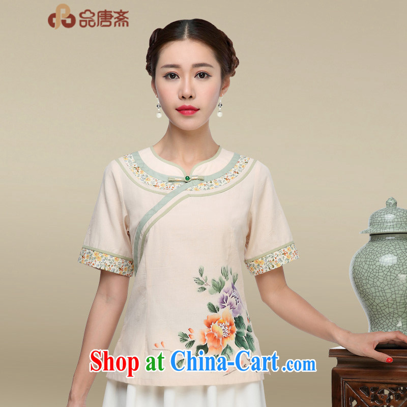 Mr Tang, Id al-Fitr Tang Women's clothes summer China wind Chinese tea serving ethnic wind short-sleeved cotton Ma daily Han-improved cheongsam shirt apricot XL