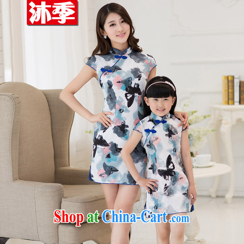 Mu season summer 2015 new paragraph style Ethnic Wind beauty graphics thin MA the retro stamp painting dresses mother and daughter parent-child with 112 butterfly flower baby 13