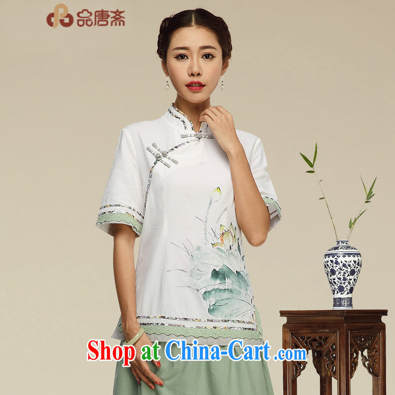 Mr Tang, Id al-Fitr Original Design improved cheongsam dress cotton Ma T-shirt China Daily linen Chinese, summer tea serve retreat serving picture color XL